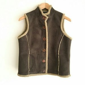 BODEN Brown Faux Suede Sherpa Vest Size (M)